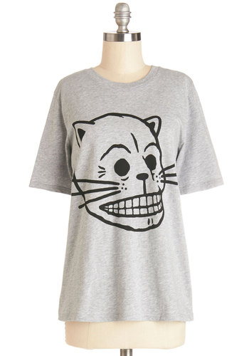 Meow You Know Tee - Cotton, Knit, Mid-length, Grey, Black, Novelty Print, Casual, Cats, Skulls, Short Sleeves, Crew, Grey, Short Sleeve, Spring, Summer, Fall, Good