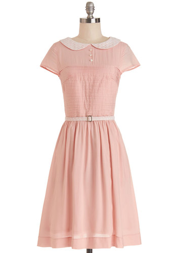 Confectioner's Dream Dress by Bea & Dot - Woven, Pink, Solid, Peter Pan Collar, Belted, Casual, A-line, Short Sleeves, Better, Collared, White, Pleats, Pockets, Vintage Inspired, 50s, Pastel, Exclusives, Private Label, Spring, Full-Size Run, Long