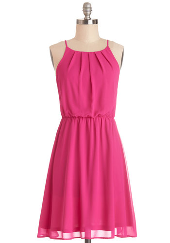 Backyard Celebration Dress - Pink, Solid, Pleats, Party, A-line, Spaghetti Straps, Good, Mid-length, Chiffon, Woven