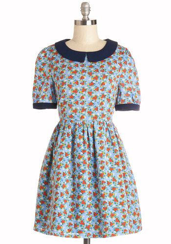 Delight in the Light Dress by Kling - Multi, Floral, Trim, Casual, A-line, Short Sleeves, Better, Collared, Woven, Short, Blue, Spring