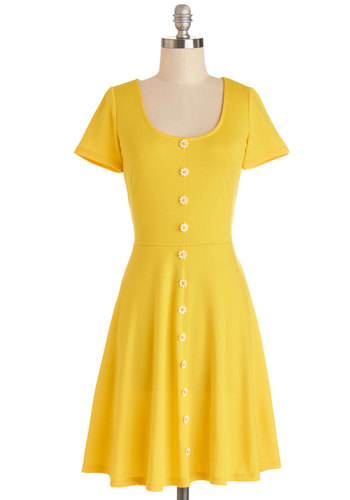 The Good Ol' Daisy Dress - Knit, Yellow, Solid, Buttons, Casual, A-line, Short Sleeves, Better, Scoop, Flower, Spring, Show On Featured Sale, Mid-length