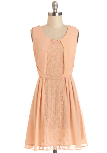 Pretty in Peach Dress - Coral, Solid, Lace, Pleats, Wedding, Daytime Party, Bridesmaid, A-line, Sleeveless, Better, Scoop, Woven, Short, Pastel, Spring