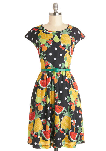 Fresh Farmer's Market Dress by Bea & Dot - Woven, Multi, Casual, Fruits, A-line, Cap Sleeves, Better, Novelty Print, Belted, Show On Featured Sale, Mid-length