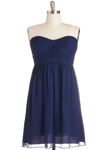 Flirting with the Idea Dress in Navy - Plus Size - Chiffon, Woven, Blue, Solid, Ruching, Special Occasion, Prom, Wedding, Bridesmaid, A-line, Strapless, Better, Sweetheart