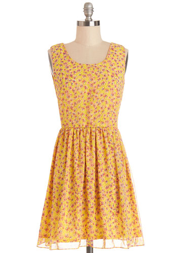 What a Great Daisy! Dress - Woven, Short, Yellow, Multi, Floral, Casual, Sundress, A-line, Sleeveless, Good, Scoop