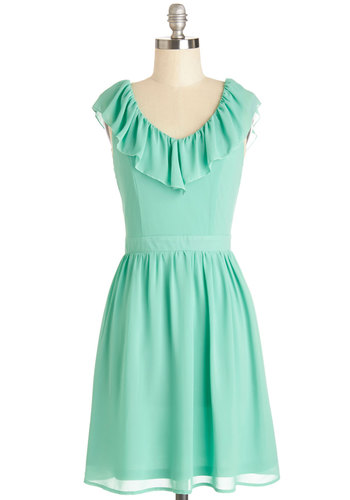 Ready for Radiance Dress - Woven, Mid-length, Mint, Solid, Ruffles, Party, A-line, Sleeveless, Good, V Neck, Daytime Party, Spring