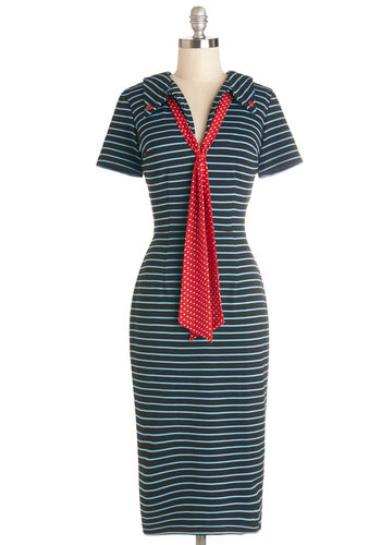 Supper by the Sea Dress - Nautical, Blue, Black, Stripes, Buttons, Work, Casual, Shift, Short Sleeves, Better, Collared, 60s, Multi, Red, Tie Neck, Vintage Inspired, 70s, Knit, Show On Featured Sale, Festival, Boho, Long