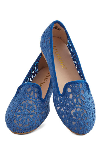 Morning, Noon, and Flight Flat in Blue - Flat, Woven, Blue, Solid, Daytime Party, Menswear Inspired, Good, Variation, Crochet, Sheer, Summer
