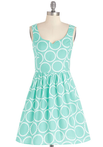 Air of Adorable Dress in Dotted Mint - Print, Pockets, Daytime Party, Fit & Flare, Tank top (2 thick straps), Better, Scoop, Cotton, Woven, Mint, White, Exclusives, Sundress, Summer, Show On Featured Sale, Mid-length
