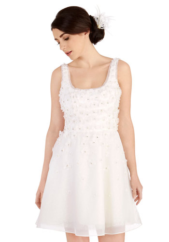 Graceful Vision Dress - White, Wedding, Bride, Solid, Bows, Flower, Pearls, Rhinestones, A-line, Sleeveless, Best, Scoop, Mid-length, Chiffon, Woven