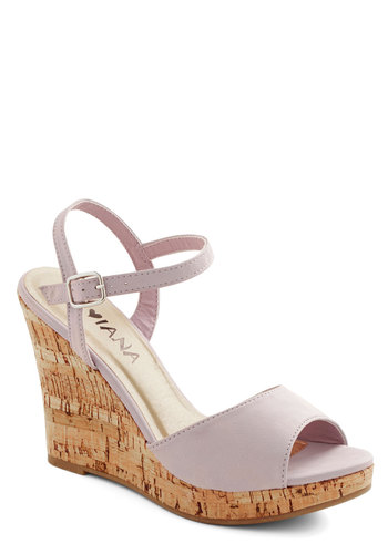 Refreshed and Ready Wedge - High, Faux Leather, Lavender, Solid, Daytime Party, Spring, Summer, Platform, Wedge, Good, Pastel, Peep Toe