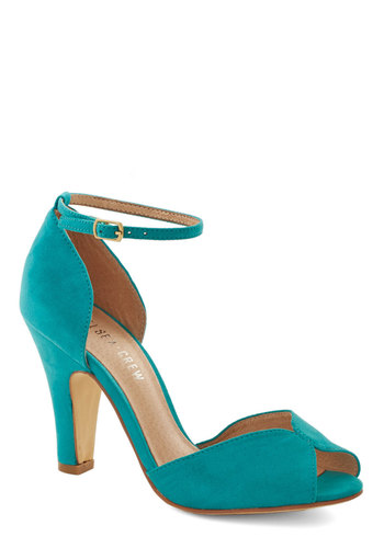 Fine Dining Heel in Turquoise by Chelsea Crew - High, Faux Leather, Woven, Blue, Solid, Prom, Wedding, Party, Cocktail, Girls Night Out, Vintage Inspired, 20s, 30s, Better, Peep Toe, Variation