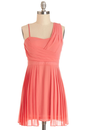 Spring Showers Dress - Chiffon, Short, Coral, Solid, Pleats, Special Occasion, Wedding, Bridesmaid, A-line, One Shoulder, Good, Woven, Prom, Party