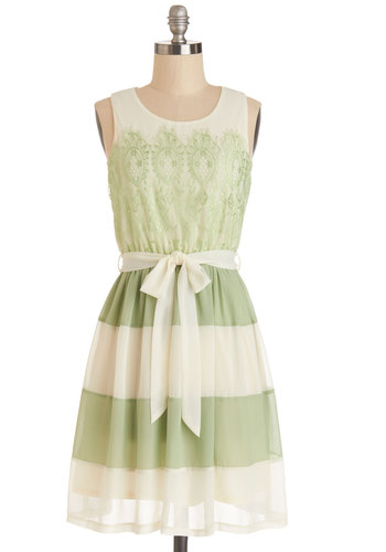 Early to Sunrise Dress in Fern - Woven, Mid-length, Chiffon, Green, White, Stripes, Lace, Belted, Party, A-line, Tank top (2 thick straps), Good, Scoop, Daytime Party, Spring