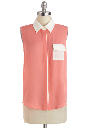 To the Salon Top - Pink, Sleeveless, Sheer, Mid-length, White, Solid, Buttons, Pockets, Sleeveless, Spring, Collared, Coral