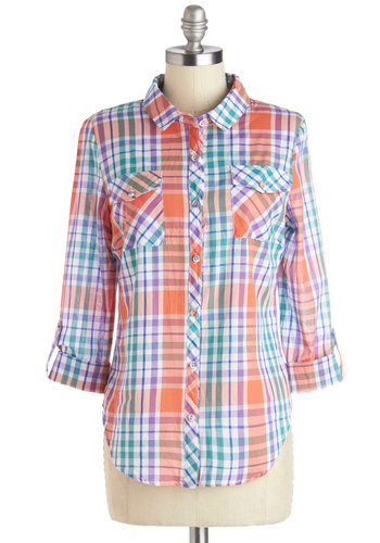 Happily Humming Along Top - Cotton, Woven, Mid-length, Multi, Orange, Green, Purple, Plaid, Buttons, Pockets, Casual, Long Sleeve, Collared, Multi, Tab Sleeve