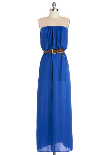 Gilded Forest Dress in Lake - Blue, Solid, Belted, Casual, Maxi, Strapless, Good, Variation, Long