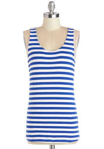 To-Do Lister Top - Blue, Sleeveless, Cotton, Knit, Mid-length, Blue, White, Stripes, Casual, Nautical, Summer, Scoop, Tank top (2 thick straps), Spring, Good