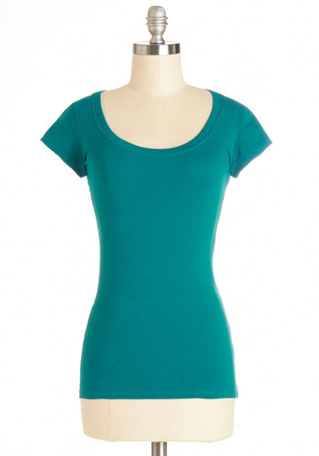 What's the Scoop Neck Tee in Teal - Blue, Short Sleeve, Cotton, Knit, Mid-length, Green, Blue, Solid, Casual, Short Sleeves, Variation, Scoop, Basic