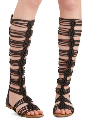 Height of Fashion Sandals - Flat, Faux Leather, Woven, Black, Solid, Woven, Statement, Better, Summer