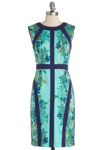 Office You Can't Refuse Dress - Blue, Floral, Eyelet, Trim, Daytime Party, Shift, Sleeveless, Best, Scoop, Woven, Work, Mid-length