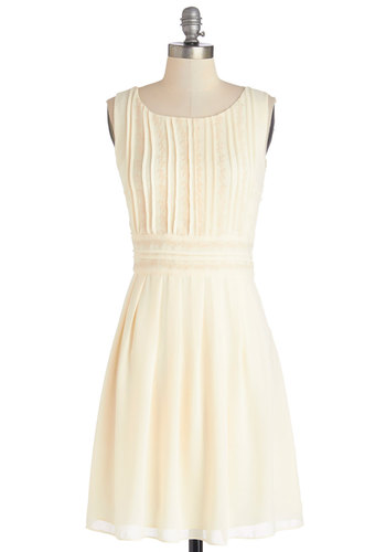 Gala in the Grove Dress - Solid, Embroidery, Pleats, Daytime Party, A-line, Sleeveless, Better, Scoop, Woven, Mid-length, Cream