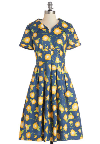 Mum As You Are Dress by Bea & Dot - Blue, Yellow, Floral, Pleats, Casual, Vintage Inspired, 40s, Short Sleeves, Better, Exclusives, Private Label, Long, Cotton, Woven, Pockets, 50s, A-line, Daytime Party, Top Rated, Full-Size Run