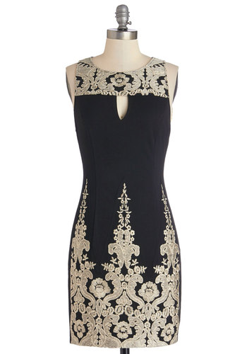 Glitz About Time Dress - Black, Gold, Cutout, Embroidery, Party, Shift, Sleeveless, Better, Scoop, Knit, Short, Cocktail