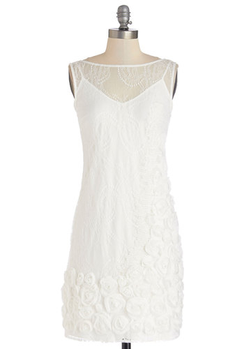 Yours to Keep Dress - White, Solid, Flower, Lace, Special Occasion, Wedding, Bride, Shift, Sleeveless, Better, Woven, Mid-length, Spring