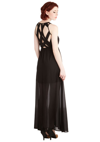 Who's that Gal? Dress - Long, Woven, Black, Solid, Cutout, Party, Maxi, Sleeveless, Scoop, Girls Night Out