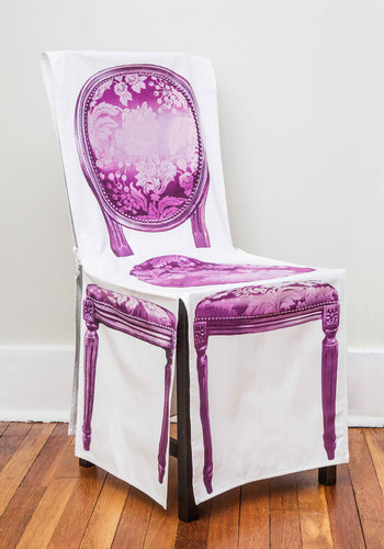 Almost Antique Chair Cover - Woven, Cotton, Multi, French / Victorian, Better, Purple, White, Novelty Print