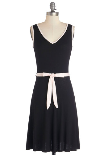 Song and Dance Dress - Black, Pink, Trim, Casual, A-line, Sleeveless, Good, V Neck, Jersey, Knit, Belted, Mid-length