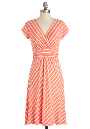 Casual Decorum Dress in Coral Stripes - Jersey, Knit, Long, Coral, White, Stripes, Ruching, Casual, A-line, Short Sleeves, Summer, Good, V Neck