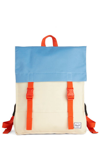 Quick Trip Backpack by Herschel Supply Co. - Red, Blue, Solid, Colorblocking, Scholastic/Collegiate, Better, White, Woven, Cream, Travel, Spring, Graduation, Summer
