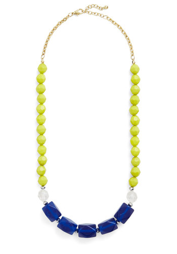 Here at the Cobalt Cabana Necklace - White, Solid, Beads, Daytime Party, Beach/Resort, Colorblocking, Good, Multi, Green, Blue, Summer, Gold, Press Placement
