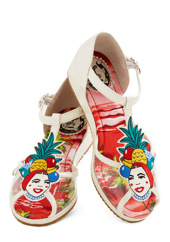 Totally Tutti-Fruity Sandal by Miss L Fire - Low, Woven, Novelty Print, Beach/Resort, Fruits, Best, T-Strap, Multi, White, Quirky, Summer, Statement