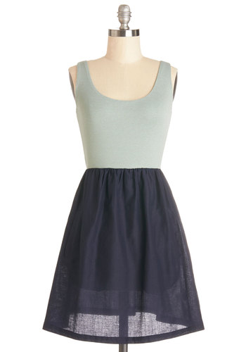 Breeze the Boardwalk Dress - Mint, Pockets, Casual, A-line, Good, Scoop, Knit, Woven, Mid-length, Blue, Grey, Twofer, Tank top (2 thick straps)