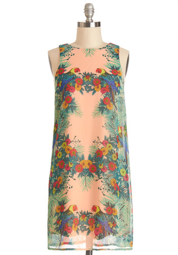 All in Favor, Say Island! Dress - Multi, Print with Animals, Casual, Shift, Sleeveless, Good, Woven, Mid-length, Floral, Beach/Resort