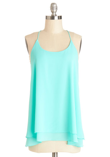 The Lithe Aquatic Top in Aqua - Blue, Sleeveless, Sheer, Mid-length, Blue, Solid, Casual, Spaghetti Straps, Summer, Beach/Resort, Good
