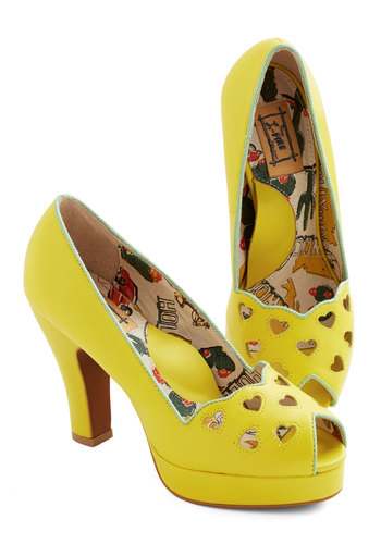 Lemonade Stand Tall Heel in Zest by Miss L Fire - Mid, Leather, Yellow, Solid, Cutout, Party, Daytime Party, Statement, Neon, Best, Peep Toe, Spring, Fruits