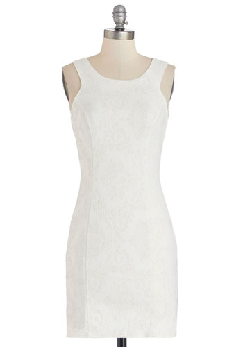Destined to Impress Dress - Cutout, Party, Girls Night Out, Shift, Sleeveless, Better, Scoop, Knit, Mid-length, White