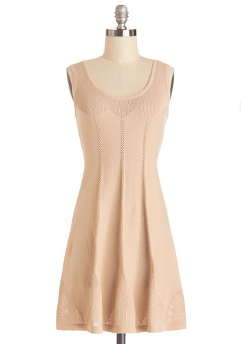 Comfy On Over Dress - Tan, Solid, Casual, Sleeveless, Good, Scoop, Knit, Cotton, Short, A-line, Fall, Sweater Dress