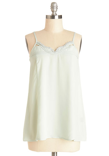 Stay a While Top - Sheer, Mid-length, Mint, Solid, Pastel, Spaghetti Straps, Spring, Summer, Green, Sleeveless, Good