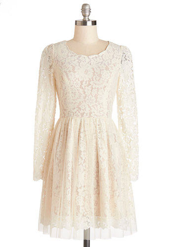 Miss Magnificent Dress - Knit, Lace, Mid-length, Cream, Solid, Lace, Wedding, Party, Bride, A-line, Long Sleeve, Better, Scoop, Sheer, Spring