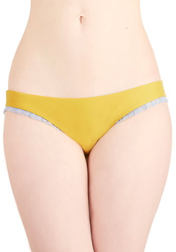 Feel the Sunshine Swimsuit Bottom - Knit, Yellow, Solid, Ruffles, Trim, Beach/Resort, Blue, Summer