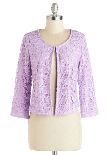 Honors and Upwards Jacket in Lilac - Good, Purple, Short, Woven, Lace, 1, Purple, Solid, Crochet, Daytime Party, Pastel, 3/4 Sleeve, Wedding, Spring