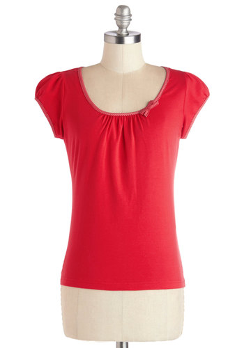 The Cutest Cruise Top in Solid Red - Cotton, Short, Red, Solid, Bows, Scoop, Red, Short Sleeve, Cap Sleeves, Variation
