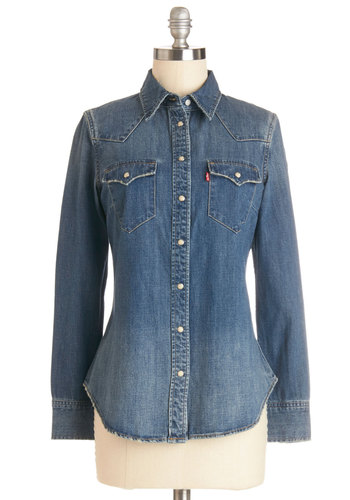 More or Lasso Top by Levi's - Woven, Cotton, Mid-length, Blue, Solid, Buttons, Pockets, Casual, Long Sleeve, Collared, Blue, Long Sleeve, Denim, Rustic
