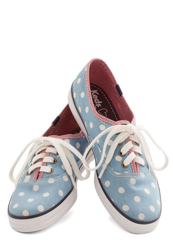 Anything but Simple Sneaker in Dots by Keds - Low, Woven, Blue, White, Polka Dots, Casual, Lace Up, Variation, Spring, Summer, Americana, 90s