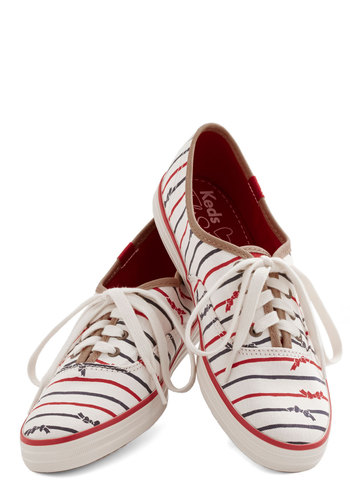 Anything but Simple Sneaker in Stripes by Keds - Woven, Flat, Red, Blue, Stripes, Casual, Nautical, Better, Lace Up, Variation, White, Summer, Americana, 90s